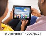 close up of couple using... | Shutterstock . vector #420078127