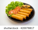 spring rolls with tomato slice... | Shutterstock . vector #420078817
