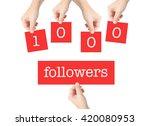 1000 followers written on cards ... | Shutterstock . vector #420080953
