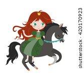 cute cartoon princess on black... | Shutterstock .eps vector #420170923