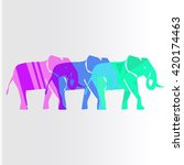 colorful elephants isolated... | Shutterstock .eps vector #420174463