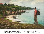 young man traveler with... | Shutterstock . vector #420184213