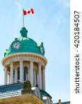 Stock photo saint st lawrence hall cupola with canadian flag waving st lawrence hall is a meeting hall 420184507