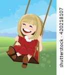 jovial girl on a swing with... | Shutterstock .eps vector #420218107