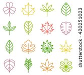 leaf icons set  thin line vector | Shutterstock .eps vector #420251023