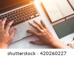 businessman using computer with ... | Shutterstock . vector #420260227