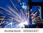 welding robots movement in a... | Shutterstock . vector #420261427
