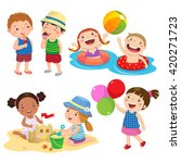set of children play on the... | Shutterstock .eps vector #420271723