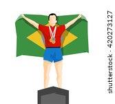 silhouette winner on the podium ... | Shutterstock .eps vector #420273127