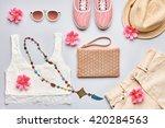 summer street style. fashion... | Shutterstock . vector #420284563