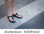 pedestrian across crosswalk on...   Shutterstock . vector #420291613