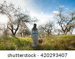 girl with a basket in his hand... | Shutterstock . vector #420293407