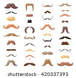 Huge set of vector mustache isolated on white background. Barber symbols hand draw cartoon style elements silhouette hairstyle mask disguise. Hipster beard fashion vintage faces collection