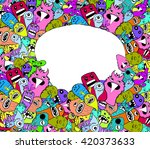 hand drawn monsters and cute... | Shutterstock .eps vector #420373633