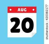 calendar icon flat august 20