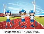 three kids riding bike on the... | Shutterstock .eps vector #420394903
