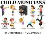 children playing different... | Shutterstock .eps vector #420395017