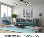 interior with sofa. 3d... | Shutterstock . vector #420472723