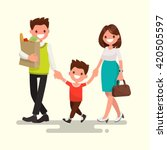 happy family. dad mom and son... | Shutterstock .eps vector #420505597