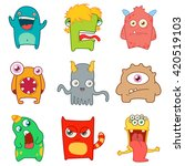 set of cartoon cute monsters.... | Shutterstock .eps vector #420519103
