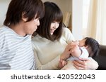portrait of young asian family... | Shutterstock . vector #420522043