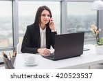 business woman with notebook in ... | Shutterstock . vector #420523537