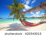 perfect tropical paradise beach ... | Shutterstock . vector #420543013