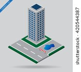 isometric city   dotted line... | Shutterstock .eps vector #420544387