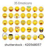 big emoticons set on white... | Shutterstock .eps vector #420568057