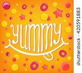 smiley icon. yummy log... | Shutterstock .eps vector #420591883