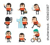 set of human character poses ... | Shutterstock .eps vector #420601087