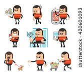 set of human character poses ... | Shutterstock .eps vector #420601093