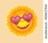 sun with heart glasses. cute... | Shutterstock .eps vector #420617563