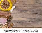Stock photo dod food selection on wooden background with copy space top view 420623293