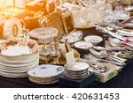 silverware and dishes on a... | Shutterstock . vector #420631453