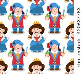 seamless pattern with cartoon... | Shutterstock .eps vector #420637783