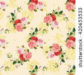 seamless floral pattern rose... | Shutterstock .eps vector #420653533