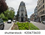 Small photo of AIX-LES-BAINS, FRANCE - 30 APRIL, 2015: Street of french resort Aix-Les-Bains, one of the important French spa towns that has the largest fresh water marina in France