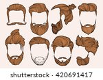 man hairstyle. set of hand... | Shutterstock .eps vector #420691417