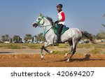 contestants of an 80km desert... | Shutterstock . vector #420694207