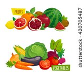 exotic tropical fruits and... | Shutterstock .eps vector #420705487