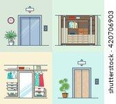 wardrobe dressing room interior ... | Shutterstock .eps vector #420706903