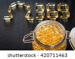 omega 3 6 9 fish oil yellow... | Shutterstock . vector #420711463