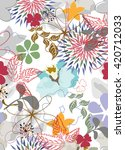 seamless flowers pattern | Shutterstock .eps vector #420712033
