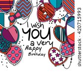 happy birthday greeting card.... | Shutterstock .eps vector #420715993