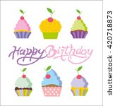 happy birthday vector card. ... | Shutterstock .eps vector #420718873