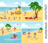 children summertime vacation... | Shutterstock .eps vector #420727027