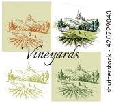 vineyards landscape vector | Shutterstock .eps vector #420729043