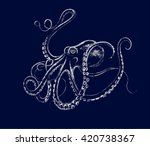 illustration. light octopus on... | Shutterstock .eps vector #420738367