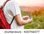 man with the red backpack... | Shutterstock . vector #420746077